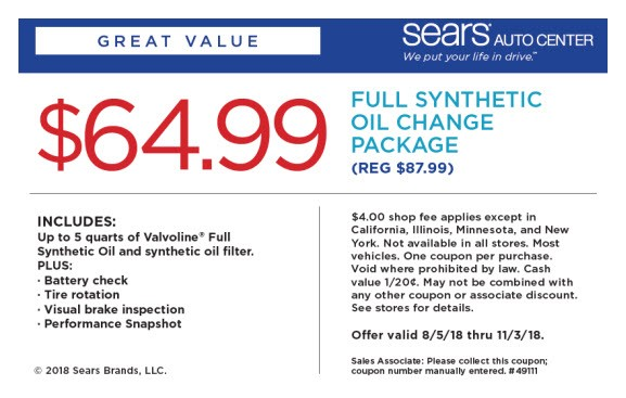 Sears Tire Coupons $64 99 Full Synthetic Oil Change Package